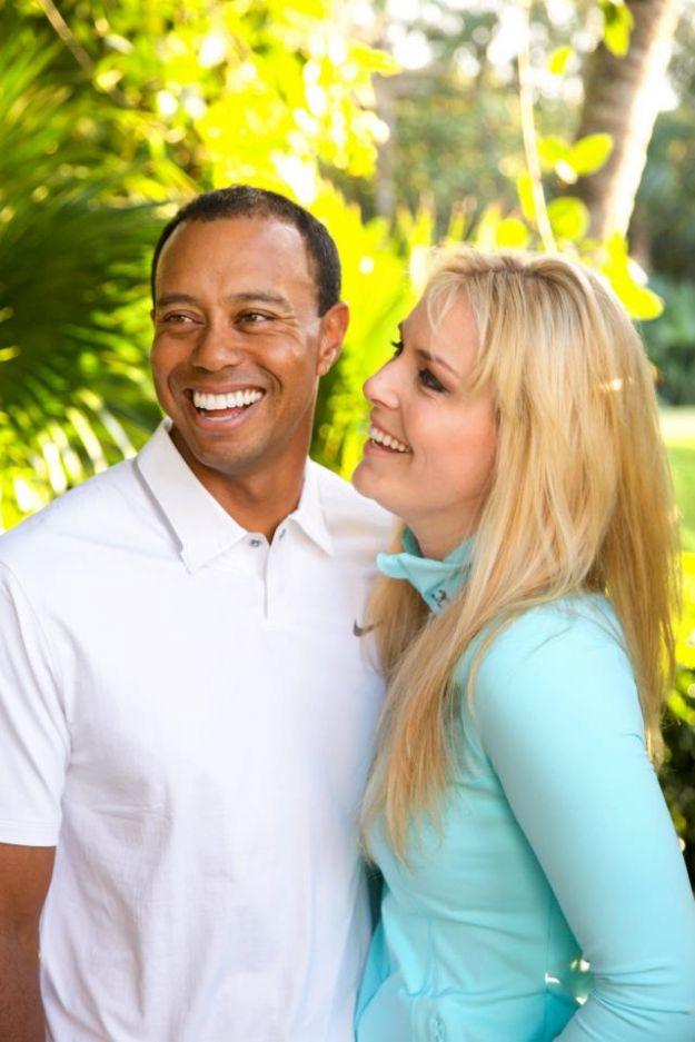 Tiger Woods e Lindsay Vonn sorridenti