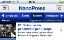 Nanopress su iPhone: nuova versione compatibile con iOS 4
