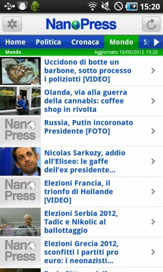 NanoPress per Android, mondo
