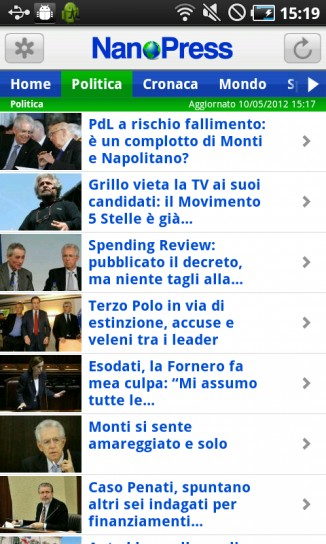 NanoPress per Android, politica