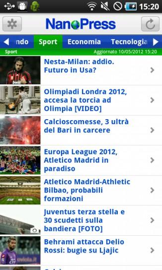 NanoPress per Android, sport